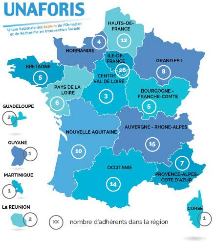 Cartographie des adhérents 2019